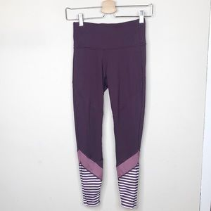 Joy Lab Striped Leggings Purple Women's X-Small